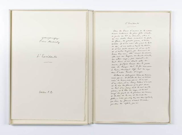 """P. Alechinsky (1927) - """"L' Excédante. Ges. R.O. en 24/90. Uitg. F.B. Auteur: Yves Monfroy."""""""