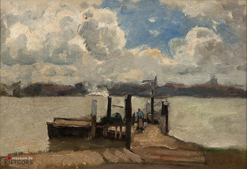 """B.M. Koldewey (1859-1898) - """"Het Oude Veer te Papendrecht. Ges. met atelierstempel."""""""
