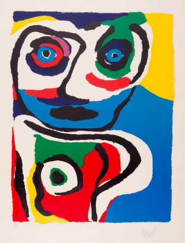 "Karel Appel (1921-2006) - ""Grand Tête"". Ges. R.O. en 20/100. 1975."
