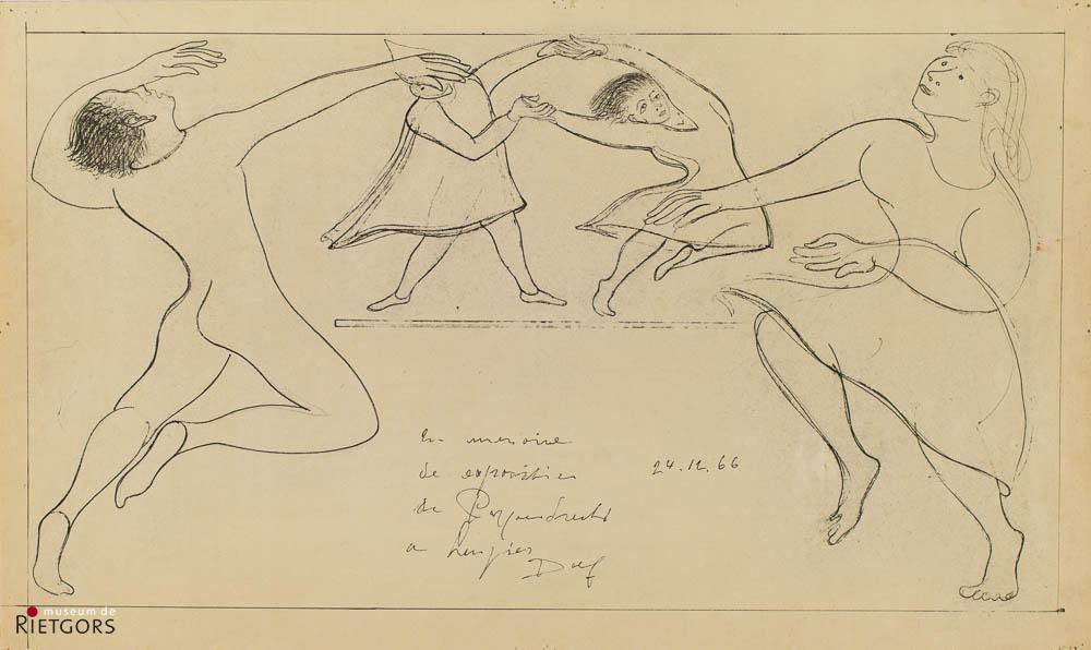 D. Henkes (1903-1989) - Dansende figuren. Ges. en '66.