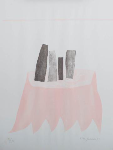 """K. Gubbels (1934) - """"Stilleven, vier voorwerpen op tafel. Ges. R.O. en '77. 77/190."""""""