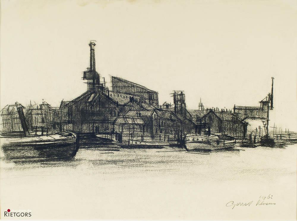 G. Kloens - Gasfabriek vanuit Maasstraat. Ges. R.O.