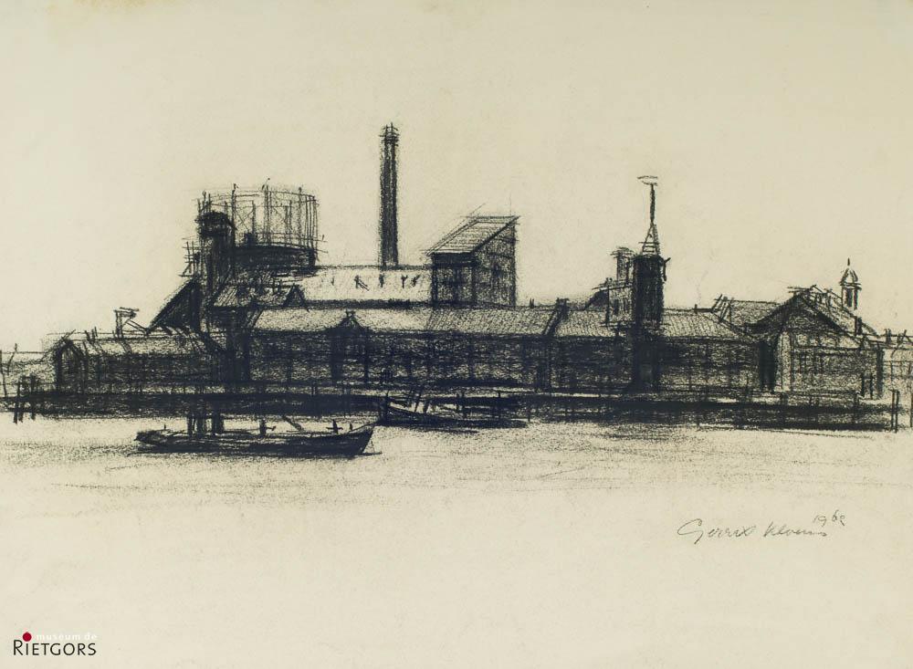 G. Kloens - Gasfabriek vanuit Papendrecht. Ges. R.O.