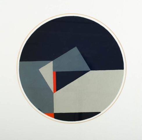 E. Boellaard - Compositie met cirkel. Ges. en '83.