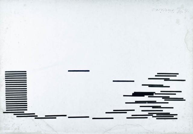 C. Visser (1928) - Compositie met zwarte balken. 111/190.