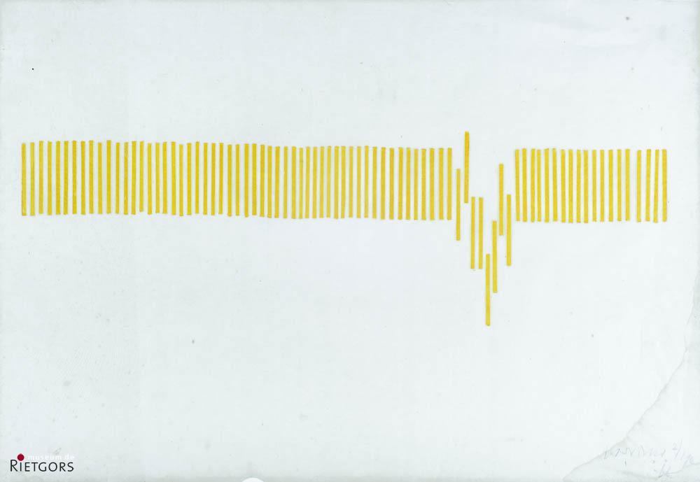 C. Visser (1928) - Compositie met verticale gele balken. 2/190.