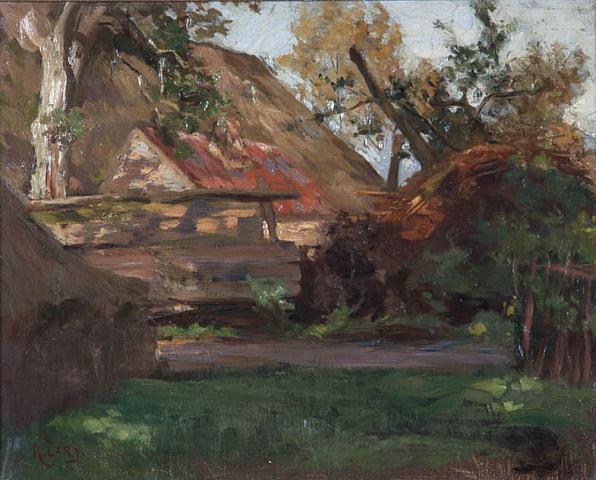 """R. Larij (1855-1923) - """"Landschap met boerderij bij Heeze. Ges. L.O."""""""