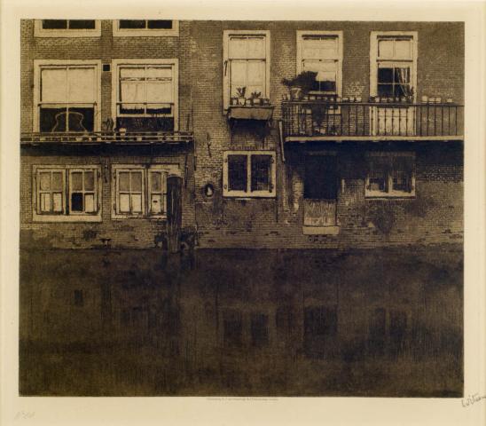 """W. Witsen (1860-1923) - """"Huizen aan het water, Voorstraathaven. Ges. R.O. en Nr. 88."""""""