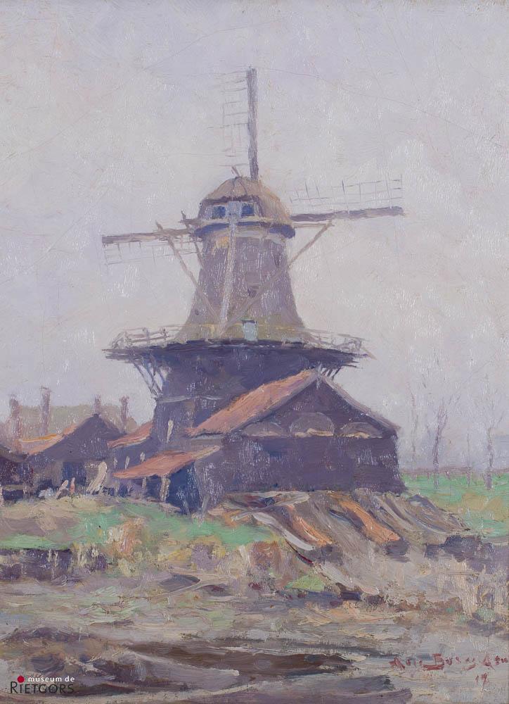 A. Boers (1867-1947) - Houtzaagmolen. Ges. R.O. en '17.