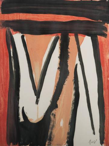 B. van Velde (1895-1981) - Abstractie. Ges. R.O. en 93/100.