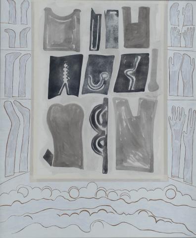"""C. van Gulik (1938) - """"Maandag wasdag"""". Ges. R.O. en '76."""