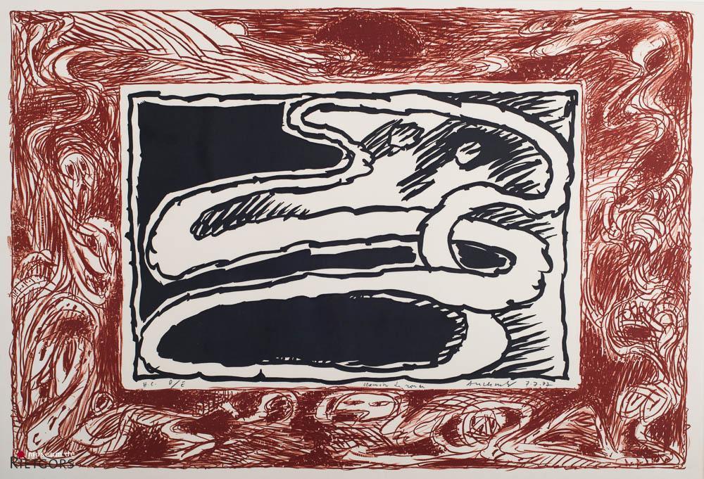 "P. Alechinsky (1927) - ""Chemin du monde"". Ges. R.O. en '77."
