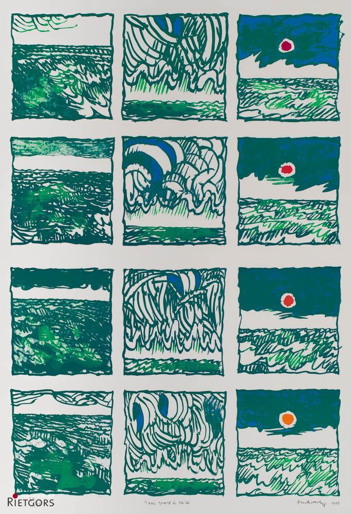 """P. Alechinsky (1927) - """"Trois Quarts de Veille"""". Ges. R.O. en 1977. 65/120."""""""