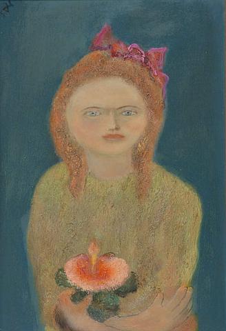 D. Henkes (1903-1989) - Meisje met Chinese Roos. Ges. L.B.