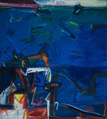 """T. Kuypers (1940) - """"Witte Zondag - blauw water. Ges. in verso en '85."""""""