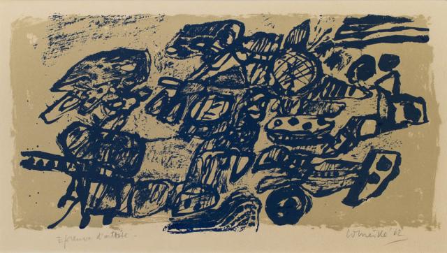Corneille (1922) - Abstracte compositie. E.A. Ges. en '62.
