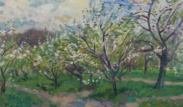 Daan Muehlhaus (1907-1981) - Bloeiende boomgaard. Ongesigneerd.