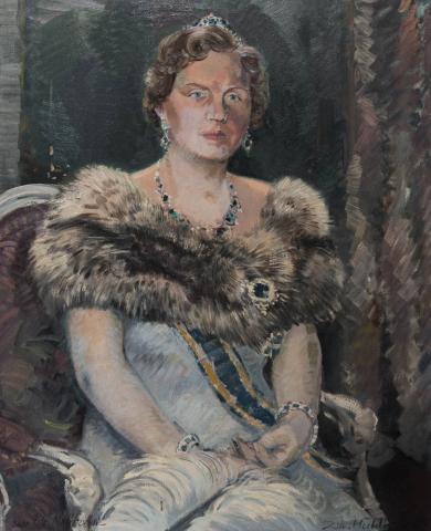 Daan Muehlhaus (1907-1981) - Portret van Koningin Juliana. Ges. R.O.