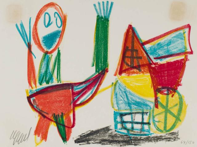 Karel Appel (1921-2006) - Kind bij wagentje. Ges. 64/150.