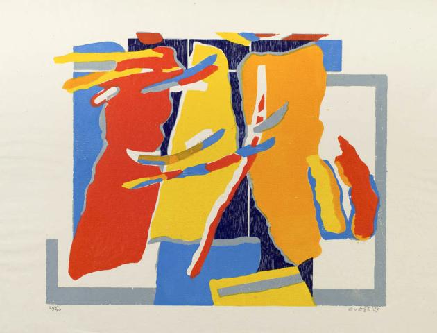 C. van Dijl (1934-2007) - Abstracte compositie. Ges. en '87. 20/40.