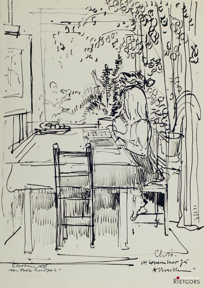 A. Mouthaan (1940) - Lerend meisje aan tafel 1975